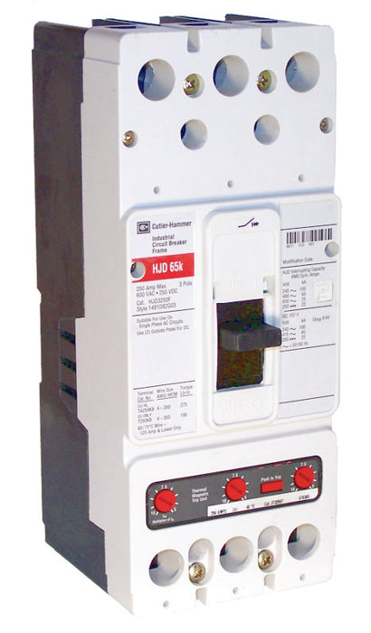 HJD3200 HJD Frame Style, Molded Case Circuit Breaker, High Interrupting Capacity, Thermal Magnetic Interchangeable Trip Unit, 200 Ampere at 40 Degree Celsius, 3 Pole, 600VAC @ 50/60HZ. New Surplus and Certified Reconditioned with 1 Year Warranty.