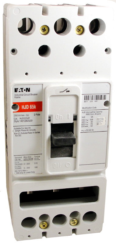 HJD3250F HJD Frame Style, Molded Case Circuit Breaker Frame, High Interrupting Capacity, Frame Only (No Trip Unit Included), 3 Pole, 600VAC @ 50/60HZ. New Surplus and Certified Reconditioned with 1 Year Warranty.
