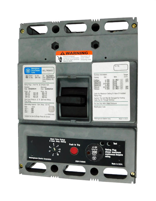 HLC3200M (HLC3400FM w/200 Amp Rating Plug) HLC Frame Style, Molded Case Circuit Breaker, High Interrupting Capacity, Magnetic Only Non-Interchangeable Trip Unit, 200 Ampere at 40 Degree Celsius, 3 Pole, 600VAC @ 50/60HZ, with 200 Amp Rating Plug Installed. New Surplus and Certified Reconditioned with 1 Year Warranty.