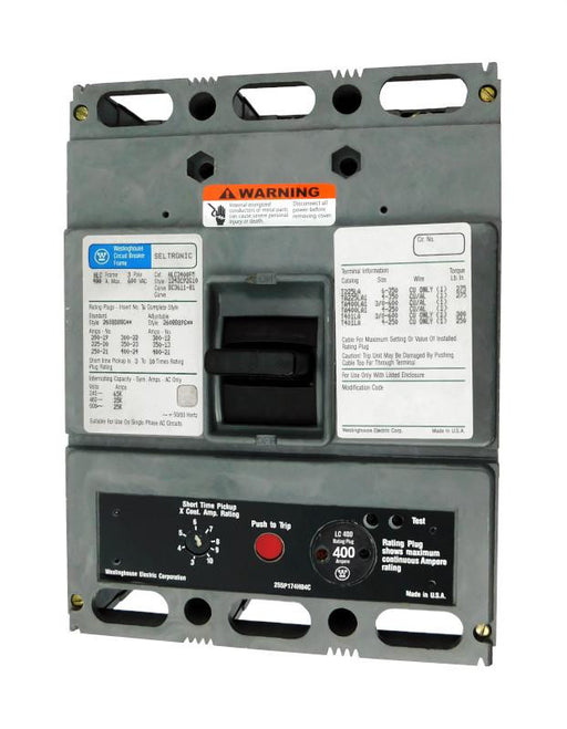 HLC3400M (HLC3400FM w/400 Amp Rating Plug) HLC Frame Style, Molded Case Circuit Breaker, High Interrupting Capacity, Magnetic Only Non-Interchangeable Trip Unit, 400 Ampere at 40 Degree Celsius, 3 Pole, 600VAC @ 50/60HZ, with 400 Amp Rating Plug Installed. New Surplus and Certified Reconditioned with 1 Year Warranty.
