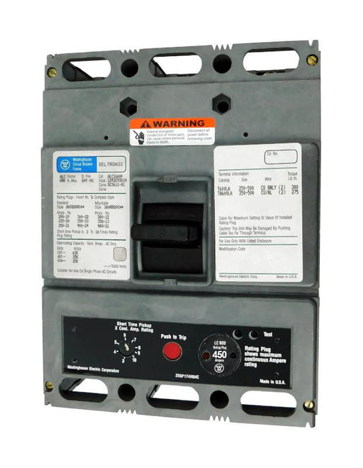HLC3450 (HLC3600F w/450 Amp Rating Plug) HLC Frame Style, Molded Case Circuit Breaker, High Interrupting Capacity, LS Function Non-Interchangeable Trip Unit, 450 Ampere at 40 Degree Celsius, 3 Pole, 600VAC @ 50/60HZ, with 450 Amp Rating Plug Installed. New Surplus and Certified Reconditioned with 1 Year Warranty.