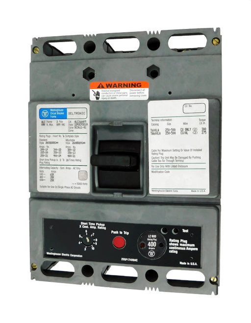 HLC3400M (HLC3600FM w/400 Amp Rating Plug) HLC Frame Style, Molded Case Circuit Breaker, High Interrupting Capacity, Magnetic Only Non-Interchangeable Trip Unit, 400 Ampere at 40 Degree Celsius, 3 Pole, 600VAC @ 50/60HZ, with 400 Amp Rating Plug Installed. New Surplus and Certified Reconditioned with 1 Year Warranty.