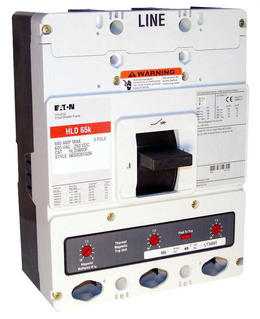 HLD3450 HLD Frame Style, Molded Case Circuit Breaker, High Interrupting Capacity, Thermal Magnetic Interchangeable Trip Unit, 450 Ampere at 40 Degree Celsius, 3 Pole, 600VAC @ 50/60HZ. New Surplus and Certified Reconditioned with 1 Year Warranty.