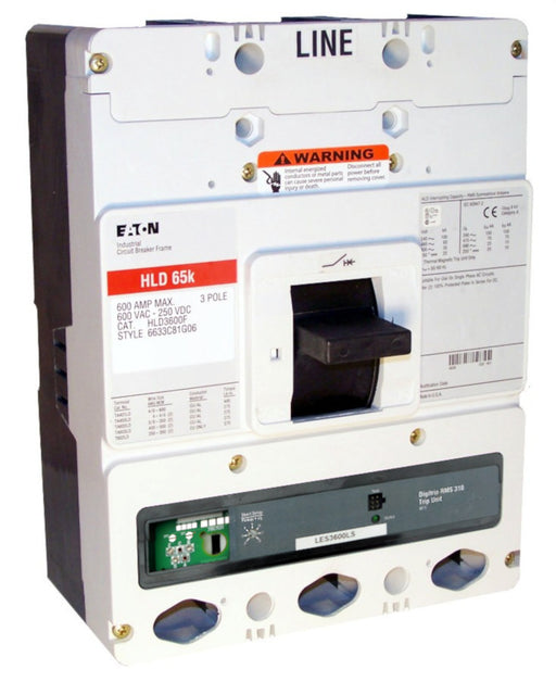 HLD3600F w/LES3600LS (RMS 310) HLD Frame Style, Molded Case Circuit Breaker, LS Function Non-Interchangeable Trip Unit, 600 Ampere Max at 40 Degree Celsius, 3 Pole, 600VAC @ 50/60HZ, High Interrupting Capacity, Rating Plug Not Included. New Surplus and Certified Reconditioned with 1 Year Warranty.
