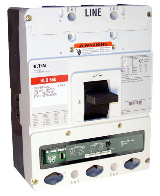HLD3600F w/LES3600LSG (RMS 310) HLD Frame Style, Molded Case Circuit Breaker, LSG Function Non-Interchangeable Trip Unit, 600 Ampere Max at 40 Degree Celsius, 3 Pole, 600VAC @ 50/60HZ, High Interrupting Capacity, Rating Plug Not Included. New Surplus and Certified Reconditioned with 1 Year Warranty.