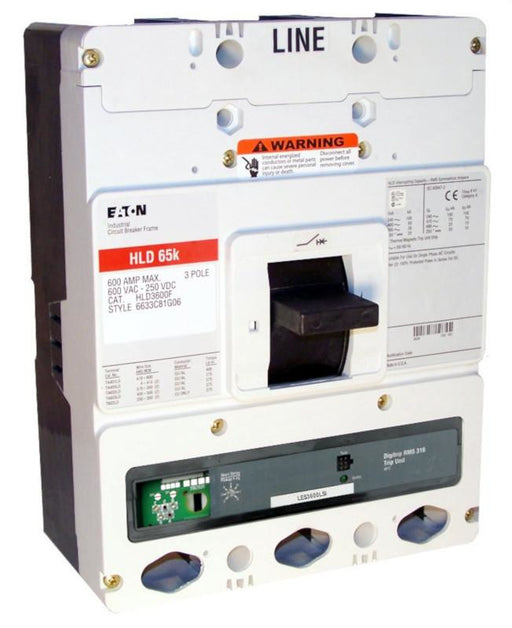HLD3600F w/LES3600LSI (RMS 310) HLD Frame Style, Molded Case Circuit Breaker, LSG Function Non-Interchangeable Trip Unit, 600 Ampere Max at 40 Degree Celsius, 3 Pole, 600VAC @ 50/60HZ, Rating Plug Not Included, Without Terminals Standard. New Surplus and Certified Reconditioned with 1 Year Warranty.