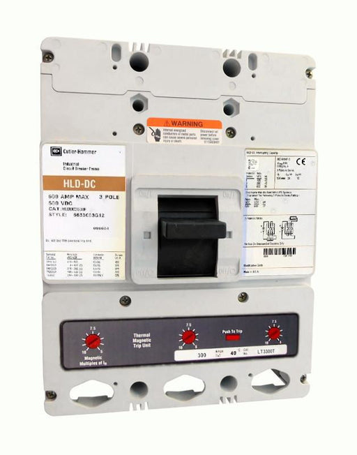HLDDC3300 HLD Frame Style, Molded Case Circuit Breaker, High Interrupting Capacity, DC Rated, Thermal Magnetic Interchangeable Trip Unit, 300 Ampere at 40 Degree Celsius, 3 Pole, 600VAC @ 50/60HZ, Aluminum Line and Load End Terminals Standard. New Surplus and Certified Reconditioned with 1 Year Warranty.