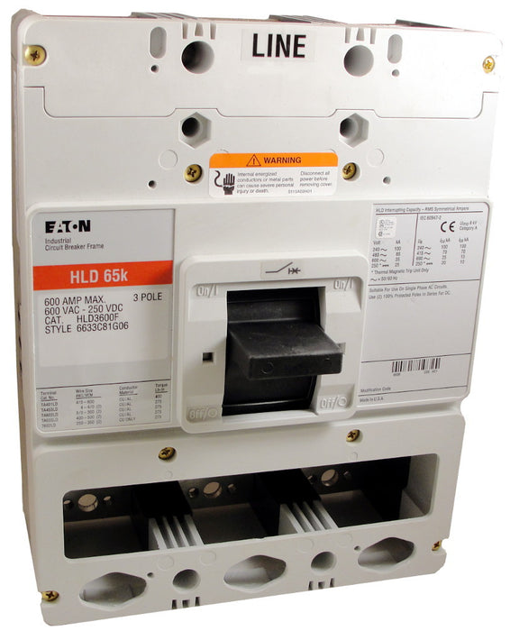 HLD3600F (Frame Only) HLD Frame Style, Molded Case Circuit Breaker Frame, High Interrupting Capacity, Frame Only (No Trip Unit Included), 3 Pole, 600VAC @ 50/60HZ. New Surplus and Certified Reconditioned with 1 Year Warranty.