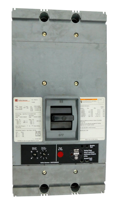 HMCA3400 HMCA Frame Style, Molded Case Circuit Breaker, Mark 75, LSI Function Non-Interchangeable Trip Unit, 3 Pole, 600VAC @ 50/60HZ, High Interrupting Style, with 400 Amp Rating Plug, Line and Load End Terminals Standard. New Surplus and Certified Reconditioned with 1 Year Warranty.