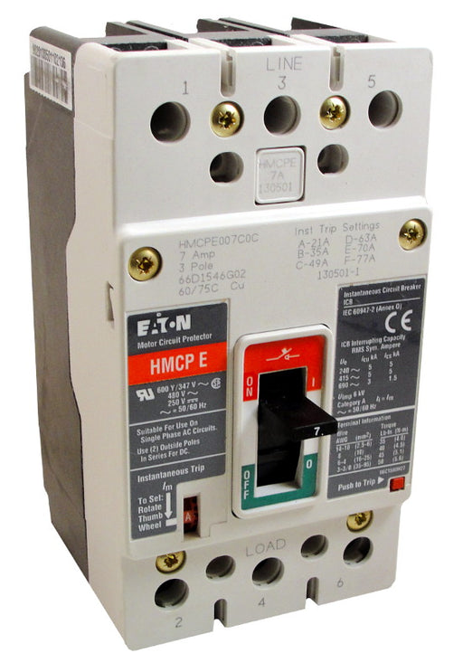 HMCPE070M2C Motor Circuit Protector (MCP), EG Frame Style, Molded Case Circuit Breaker, Magnetic Non-interchangeable Trip Unit, Instantaneous-only, 70 Amperes, 3 Pole, 210-770 Trip Setting, Non-aluminum Body Terminals Standard, 600Y/377VAC, 250VDC Maximum. New Surplus and Certified Reconditioned with 1 Year Warranty.