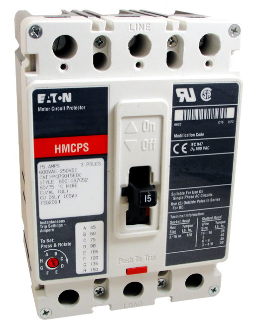 HMCPS015E0C Motor Circuit Protector (MCP),F Frame Style, Molded Case Circuit Breaker, Magnetic Non-interchangeable Trip Unit, Instantaneous-only, 15 Amperes, 3 Pole, 45-150 Trip Setting, Non-aluminum Terminals Standard, 600VAC, 250VDC Maximum. New Surplus and Certified Reconditioned with 1 Year Warranty.