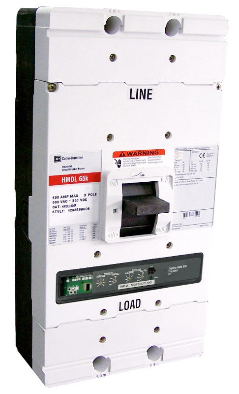 HMDL3800F w/MES3800LSIG (RMS 310) HMDL Frame Style, Molded Case Circuit Breaker, LSG Function Non-Interchangeable Trip Unit, High Interrupting Capacity, 800 Ampere Max at 40 Degree Celsius, 3 Pole, 600VAC @ 50/60HZ, Rating Plug Not Included. New Surplus and Certified Reconditioned with 1 Year Warranty.