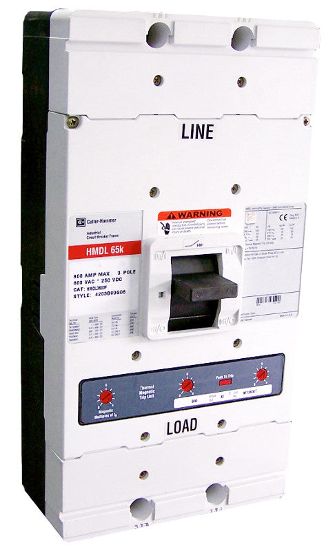 HMDL3350 HMDL Frame Style, Molded Case Circuit Breaker, Thermal Magnetic Interchangeable Trip Unit, 350 Ampere at 40 Degree Celsius, 3 Pole, 600VAC @ 50/60HZ. New Surplus and Certified Reconditioned with 1 Year Warranty.