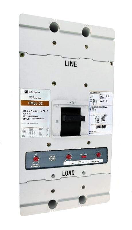 HMDLDC3300 HMDL Frame Style, Molded Case Circuit Breaker, Thermal Magnetic Interchangeable Trip Unit, 300 Ampere at 40 Degree Celsius, 3 Pole, 600VAC @ 50/60HZ, Aluminum Line and Load End Terminals Standard. New Surplus and Certified Reconditioned with 1 Year Warranty.