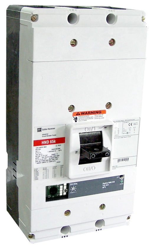 HND312T35W HND Frame Style, Molded Case Circuit Breaker, Electronic Non-Interchangeable Trip Unit(Digitrip RMS 310), LSG Trip Unit Functions, 1200 Ampere at 40 Degree Celsius, 3 Pole, 600VAC @ 50/60HZ, Rating Plug Not Included, Without Terminals. New Surplus and Certified Reconditioned with 1 Year Warranty.