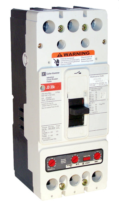 JD3250 JD Frame Style, Molded Case Circuit Breaker, Thermal Magnetic Interchangeable Trip Unit, 250 Ampere at 40 Degree Celsius, 3 Pole, 600VAC @ 50/60HZ, Interrupting Ratings: 65 Kiloampere @ 240VAC, 35 Kiloampere @ 480VAC, 18 Kiloampere @ 600VAC, 10 Kiloampere @ 25. New Surplus and Certified Reconditioned with 1 Year Warranty.