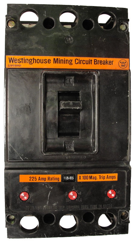 KAM3225 1125-2250 MAG-ONLY W/ UVR K Frame Style, Molded Case Mining Circuit Breaker, Non-Interchangeable Magnetic Only Trip Unit, 225 Ampere at 40 Degree Celsius, 3 Pole, 600VAC @ 50/60HZ, Interrupting Ratings: 25 Kiloampere @ 240VAC, 22 Kiloampere @ 480VAC, 22 Kiloampere @ 600VAC, 120v UVR installed, No Lugs Standard. 1 Year Warranty.