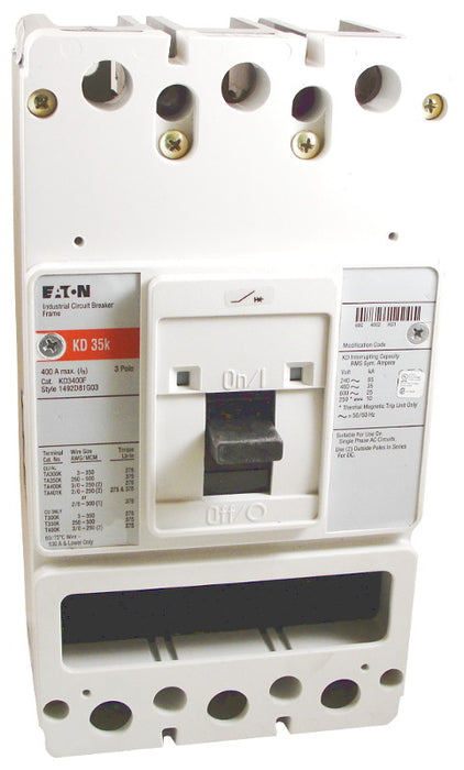 KD3400F (Frame Only) KD Frame Style, Molded Case Circuit Breaker Frame, Frame Only (No Trip Unit Included), 3 Pole, 600VAC @ 50/60HZ, Interrupting Ratings: 65 Kiloampere @ 240VAC, 35 Kiloampere @ 480VAC, 25 Kiloampere @ 600VAC, 10 Kiloampere @ 250VDC. New Surplus and Certified Reconditioned with 1 Year Warranty.