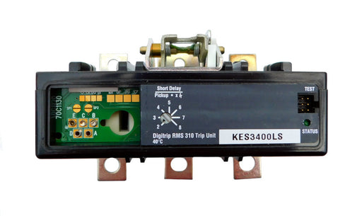 KES3400LS Trip Unit, K Frame Style, Electronic Digitrip RMS 310, 400 Ampere Max at 40 Degree Celsius, 3 Pole, Electronic Trip Adjustment at 2-8 Times Continuous Ampere Rating, For Use in Molded Case Circuit Breakers With Optional Interchangeable Trip Units. New Surplus and Certified Reconditioned with 1 Year Warranty.