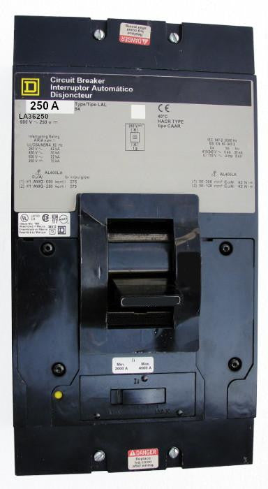 LA36250 LA (I-Line) Frame Style, Molded Case Circuit Breaker, Thermal Magnetic Non-interchangeable Trip Unit, 250 Ampere at 40 Degree Celsius, 3 Pole, Interrupting Ratings: 42 Kiloampere @ 240 VAC, 30 Kiloampere @ 480 VAC, 22 Kiloampere @ 600 VAC, 10 Kiloampere @ 250 VDC, Load End Terminals Only. New Surplus and Certified Reconditioned with 1 Year Warranty.