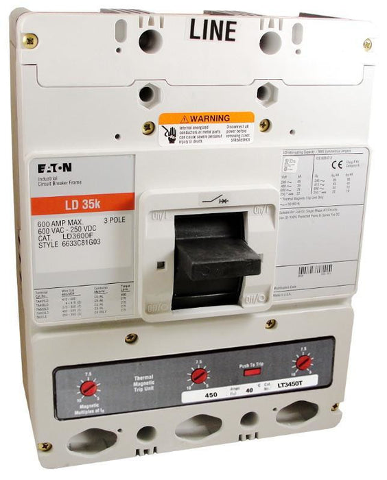 LD3450 LD Frame Style, Molded Case Circuit Breaker, Thermal Magnetic Interchangeable Trip Unit, 450 Ampere at 40 Degree Celsius, 3 Pole, 600VAC @ 50/60HZ, Interrupting Ratings: 65 Kiloampere @ 240VAC, 35 Kiloampere @ 480VAC, 25 Kiloampere @ 600VAC, 22 Kiloampere @ 250VDC. New Surplus and Certified Reconditioned with 1 Year Warranty.