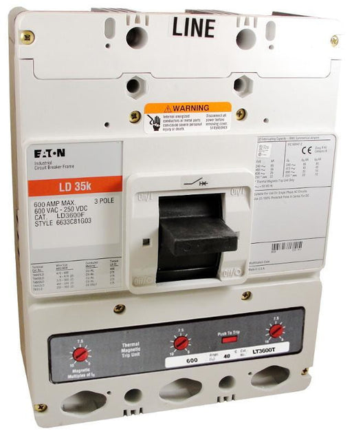 LD3600 LD Frame Style, Molded Case Circuit Breaker, Thermal Magnetic Interchangeable Trip Unit, 600 Ampere at 40 Degree Celsius, 3 Pole, 600VAC @ 50/60HZ, Interrupting Ratings: 65 Kiloampere @ 240VAC, 35 Kiloampere @ 480VAC, 25 Kiloampere @ 600VAC, 22 Kiloampere @ 250VDC. New Surplus and Certified Reconditioned with 1 Year Warranty.