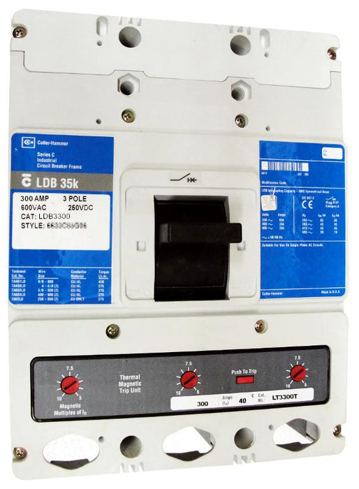 LDB3300 LDB Frame Style, Molded Case Circuit Breaker, Thermal Magnetic Non-Interchangeable Trip Unit, Suitable for Reverse Feed, 300 Ampere at 40 Degree Celsius, 3 Pole, 600VAC @ 50/60HZ. New Surplus and Certified Reconditioned with 1 Year Warranty.