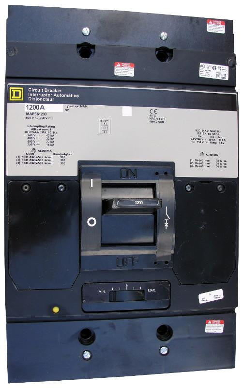 MAP361200 MAP Frame Style, Molded Case Circuit Breaker, Panel Mounted, Thermal Magnetic Non-interchangeable Trip Unit, 1200 Ampere at 40 Degree Celsius, 3 Pole, Load End Terminals Standard. New Surplus and Certified Reconditioned with 1 Year Warranty.