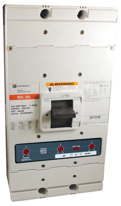 MDL3800 MDL Frame Style, Molded Case Circuit Breaker, Thermal Magnetic Interchangeable Trip Unit, 800 Ampere at 40 Degree Celsius, 3 Pole, 600VAC @ 50/60HZ. New Surplus and Certified Reconditioned with 1 Year Warranty.
