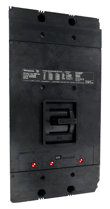 NB31200 NB Frame Style, Molded Case Circuit Breaker, Thermal Magnetic Interchangeable Trip Unit, 1200 Ampere at 40 Degree Celsius, 3 Pole, 600VAC @ 50/60HZ, Interrupting Ratings: 50 Kiloampere @ 240VAC, 35 Kiloampere @ 480VAC, 25 Kiloampere @ 600VAC, Without Terminals. New Surplus and Certified Reconditioned with 1 Year Warranty.
