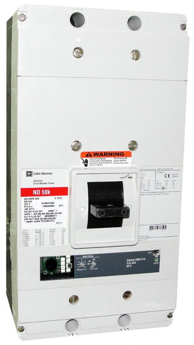 ND3800T33W ND Frame Style, Molded Case Circuit Breaker, Electronic Non-Interchangeable Trip Unit(Digitrip RMS 310), LS Trip Unit Functions, 800 Ampere at 40 Degree Celsius, 3 Pole, 600VAC @ 50/60HZ, Rating Plug Not Included, Without Terminals. New Surplus and Certified Reconditioned with 1 Year Warranty.