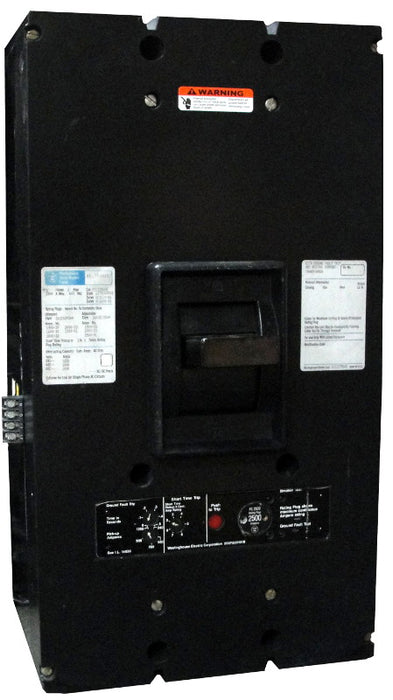 PCG32500 PC Frame Style, Ground Fault Molded-Case Circuit Breaker, SELTRONIC Solid State Electronic Trip Unit, 2000 Ampere at 40 Degree Celsius, 3 Pole, 600VAC @ 50/60HZ, Rear Connected, Frame Rated at 2500 Ampere. New Surplus and Certified Reconditioned with 1 Year Warranty.