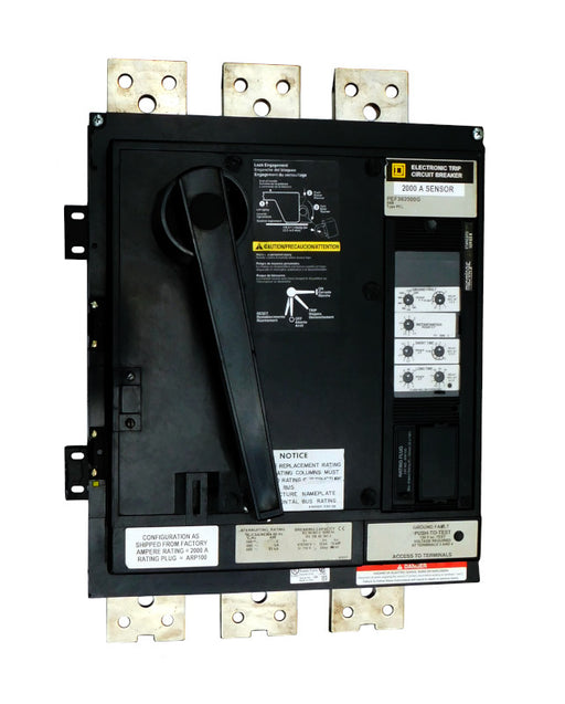 PEF362000LSG PEF Frame Style, Molded Case Circuit Breaker, 2000 Amp Sensor Size, 100% Rated, Electronic Non-interchangeable Trip Unit, LSIG Trip Unit Functions, 2000 Ampere at 40 Degree Celsius, 3 Pole, with ARP050 Rating Plug Installed Standard, Line and Load End Terminals Standard. New Surplus and Certified Reconditioned with 1 Year Warranty.