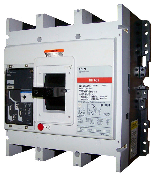 RD316T33W RD Frame Style, Molded Case Circuit Breaker, Electronic Non-Interchangeable Trip Unit(Digitrip RMS 310), (LS)Trip Unit Functions, 1600 Ampere at 40 Degree Celsius, 3 Pole, 600VAC @ 50/60HZ, Without Terminals. New Surplus and Certified Reconditioned with 1 Year Warranty.