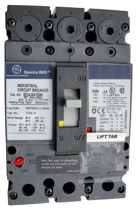SEDA36AT0100 SE150 Frame Style, Molded Case Circuit Breaker, Thermal Magnetic Non-interchangeable Trip Unit, 100 Ampere Maximum at 40 Degree Celsius, 3 Pole, 600VAC @ 50/60HZ, Terminals Not Included. New Surplus and Certified Reconditioned with 1 Year Warranty.