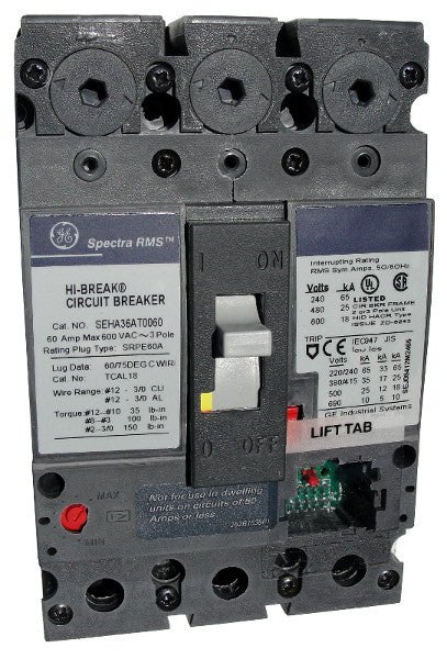 SEHA36AT0100 SE150 Frame Style, Molded Case Circuit Breaker, Thermal Magnetic Non-interchangeable Trip Unit, 100 Ampere Maximum at 40 Degree Celsius, 3 Pole, 600VAC @ 50/60HZ, No Terminals Included. New Surplus and Certified Reconditioned with 1 Year Warranty.