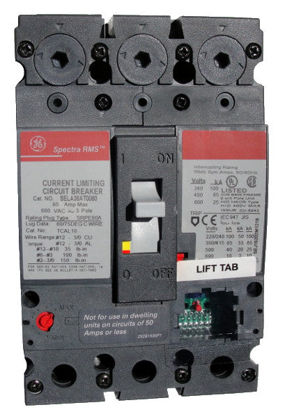 GE SGDA32AT0400 SG600 Frame Style, Molded Case Circuit Breaker, Thermal Magnetic Non-Interchangeable Trip Unit, 400 Ampere Maximum at 40 Degree Celsius, 3 Pole, 600VAC @ 50/60HZ, Interrupting Ratings: 65 Kiloampere @ 240V AC, Terminals Not Included. New Surplus and Certified Reconditioned with 1 Year Warranty.