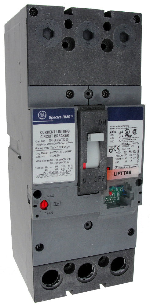 SFHA36AT0250 SF250 Frame Style, Molded Case Circuit Breaker, Thermal Magnetic Non-Interchangeable Trip Unit, 250 Ampere Maximum at 40 Degree Celsius, 3 Pole, 600VAC @ 50/60HZ, Terminals Not Included. New Surplus and Certified Reconditioned with 1 Year Warranty.
