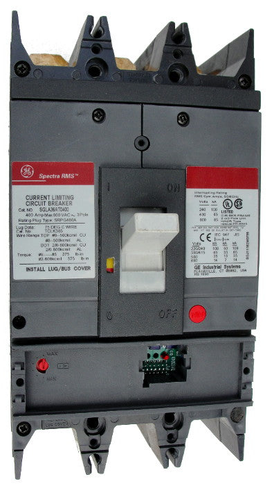 SGLA36AT0400 SG600 Frame Style, Molded Case Circuit Breaker, Thermal Magnetic Non-Interchangeable Trip Unit, 400 Ampere Maximum at 40 Degree Celsius, 3 Pole, 600VAC @ 50/60HZ, Terminals Not Included. New Surplus and Certified Reconditioned with 1 Year Warranty.