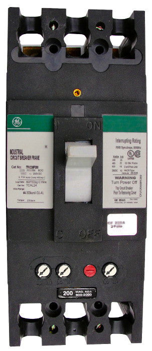 THFK236200 / THFK236200WL THFK Hi-Break Frame Style, Molded Case Circuit Breaker, Thermal Magnetic Interchangeable Trip Unit, 200 Ampere at 40 Degree Celsius, 3 Pole, 600VAC @ 50/60HZ, Line and Load End Terminals Standard. New Surplus and Certified Reconditioned with 1 Year Warranty.