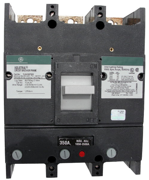 THJK436350 / THJK436350WL THJK Hi-Break Frame Style, Molded Case Circuit Breaker, Thermal Magnetic Interchangeable Trip Unit, 350 Ampere at 40 Degree Celsius, 3 Pole, 480VAC @ 50/60HZ, Line and Load End Terminals Standard. New Surplus and Certified Reconditioned with 1 Year Warranty.