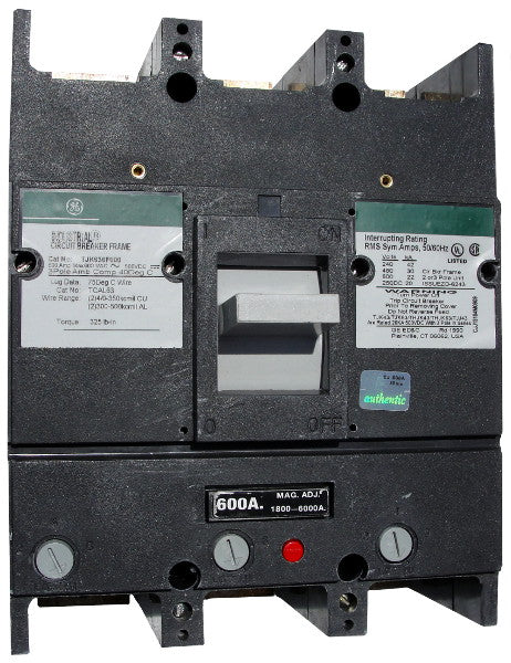 THJK636400 / THJK636400WL THJK Hi-Break Frame Style, Molded Case Circuit Breaker, Thermal Magnetic Interchangeable Trip Unit, 400 Ampere at 40 Degree Celsius, 3 Pole, 600VAC @ 50/60HZ, Line and Load End Terminals Standard. New Surplus and Certified Reconditioned with 1 Year Warranty.