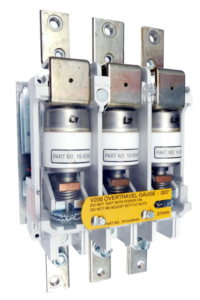 V201K6CUZ1 Vacuum Motor Contactor, Nema Size 6, 540 Amps, 3 Poles, 440/480V AC Coil, Full Voltage 600VAC, Open Style No Enclosure, Non-Reversing, Max HP Ratings: 150 @ 200V, 200 @ 230V, 300 @ 380V, 400 @ 460V, 400 @ 575V. New Surplus and Certified Reconditioned with 1 Year Warranty.