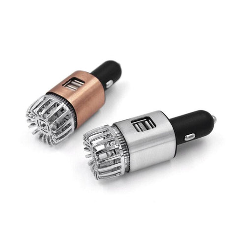 Trueform | 2-in-1 Copper Silver Dual Car Charger Mini Ionizer Car Air Purifier