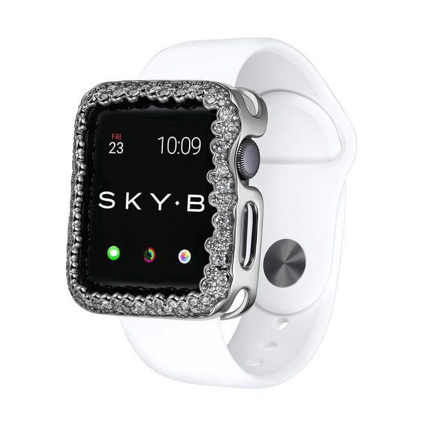 SKY.B | Handcrafted Apple Watch® Jewelry Case Champagne Bubbles  - Silver