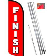 FINISH Windless-Style Feather Flag Bundle 14' OR Replacement Flag Only 11.5'
