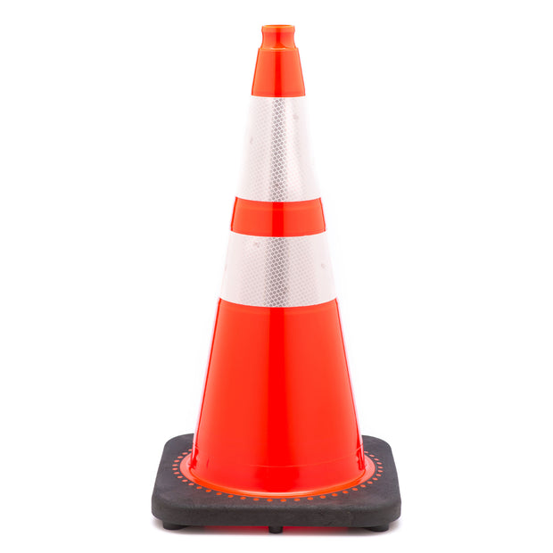 "Highway Safety Traffic Cone with Reflective Tape Collar - 28"" - 10lb"