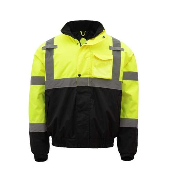 Gss Class 3 Waterproof Quilt-Lined Bomber Jacket - Lime / Regular / Small - Highway Safety