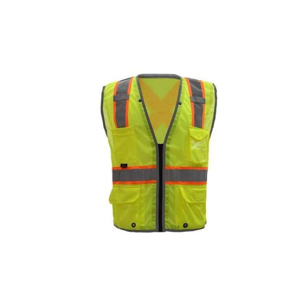 Gss Hype-Lite Class 2 Safety Vest W/ Reflective Piping-X Back - Lime / Medium - Highway Safety