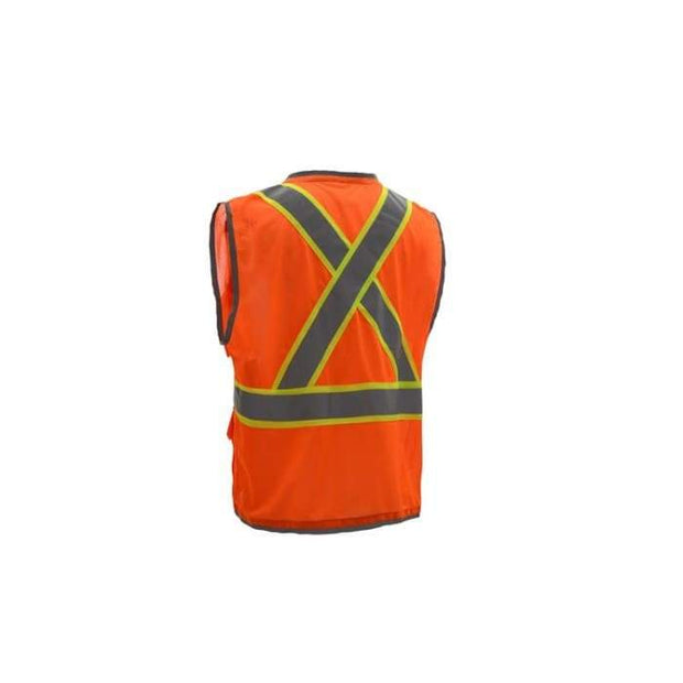Gss Hype-Lite Class 2 Safety Vest W/ Reflective Piping-X Back - Orange / Medium - Highway Safety